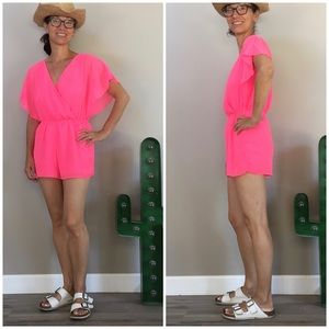 NWT Neon Pink Charlotte Ruse Jeweled Romper Sz S